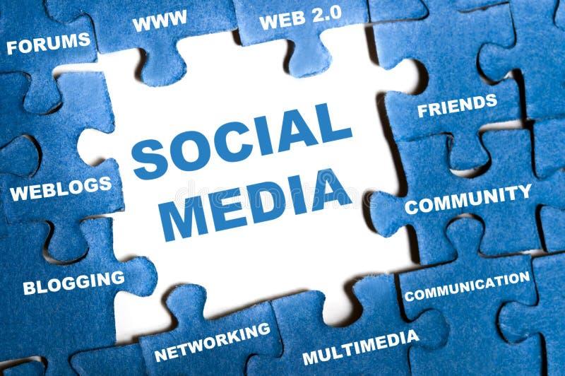 Social media puzzle. Social media blue puzzle pieces assembled