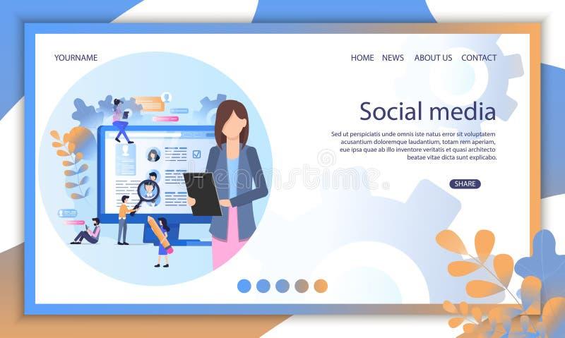 Social Media Recruit Online Interview Illustration royalty free illustration
