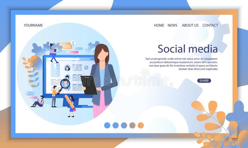 Social Media Recruit Online Interview Illustration. Professional Manager Find Candidate Employer Profile Cv Page. Digital Hr Business Application Portfolio stock illustration