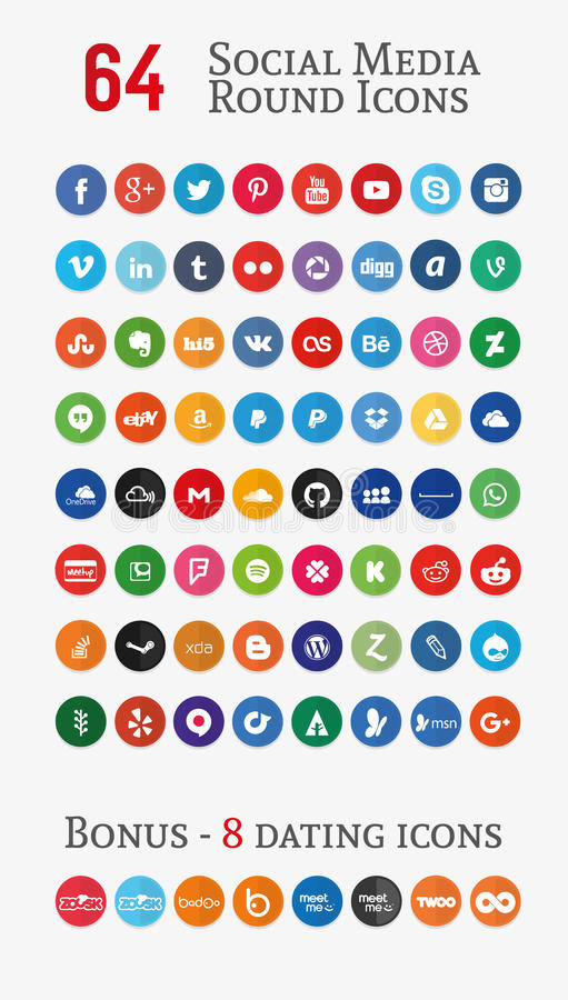 Social media round Icons (Set 1). 64 social media round icons. You can also check other icons sets in my portfolio stock illustration