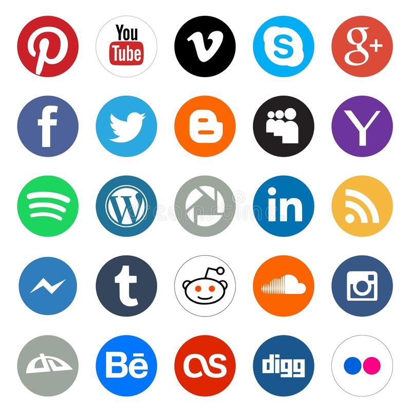 Social media round icons. Vector set collection of 25 popular social media rounded and colored buttons and icons flat style for web design projects. Including vector illustration