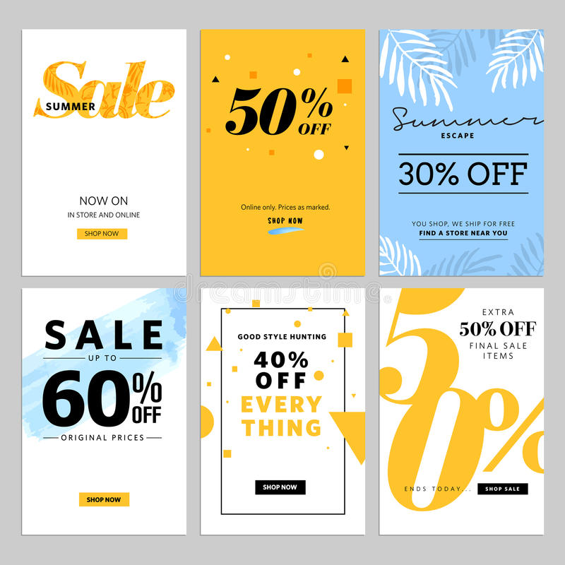 Social media sale banners and ads web template collection vector illustration