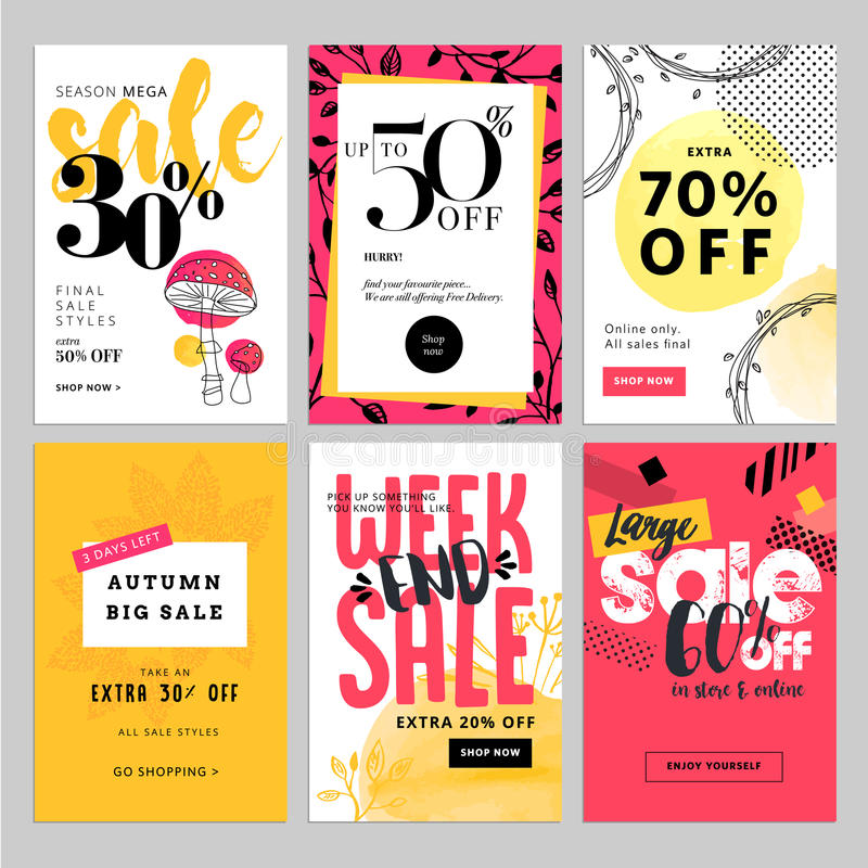 Social media sale banners, and ads web template set stock illustration