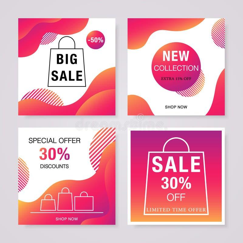 Social media sale banners set. vector illustration
