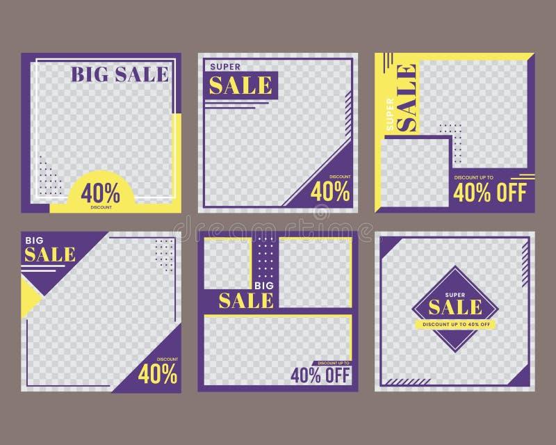 Social media sale post template royalty free illustration