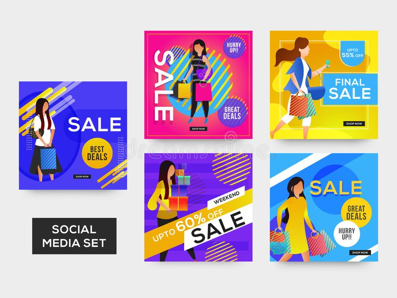 Social Media Sale template or poster set with different discount offers and beautiful women. royalty free illustration