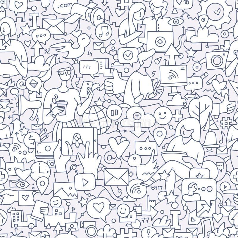 Social Media Seamless Doodle Pattern vector illustration
