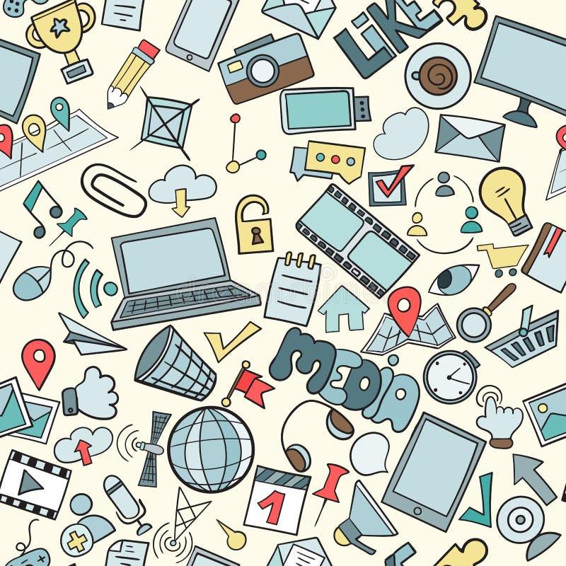 Social media seamless pattern stock illustration