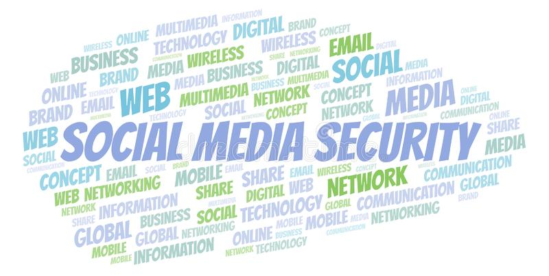 Social Media Security word cloud royalty free illustration