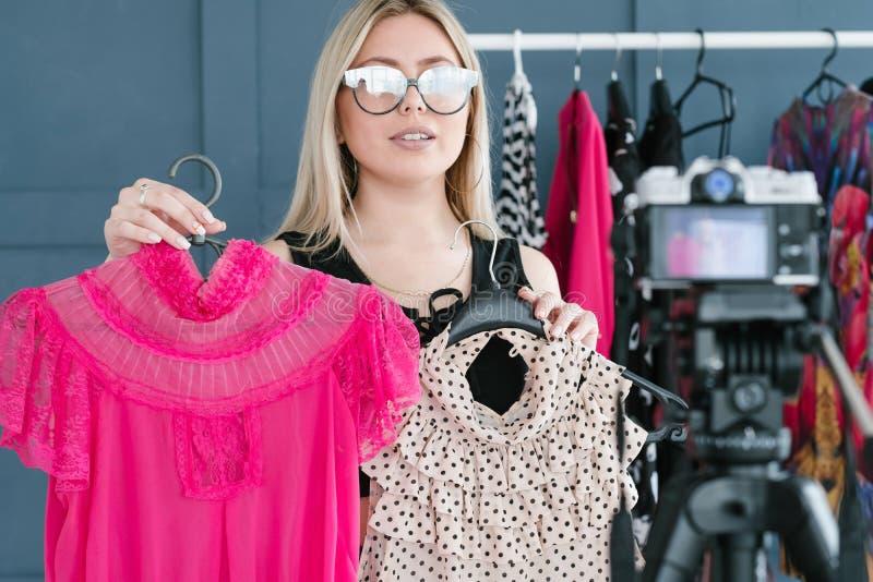Social media selling fashion designer vlogging royalty free stock image