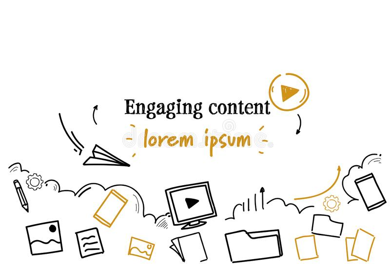 Social media sharing engaging content concept sketch doodle horizontal isolated copy space royalty free illustration