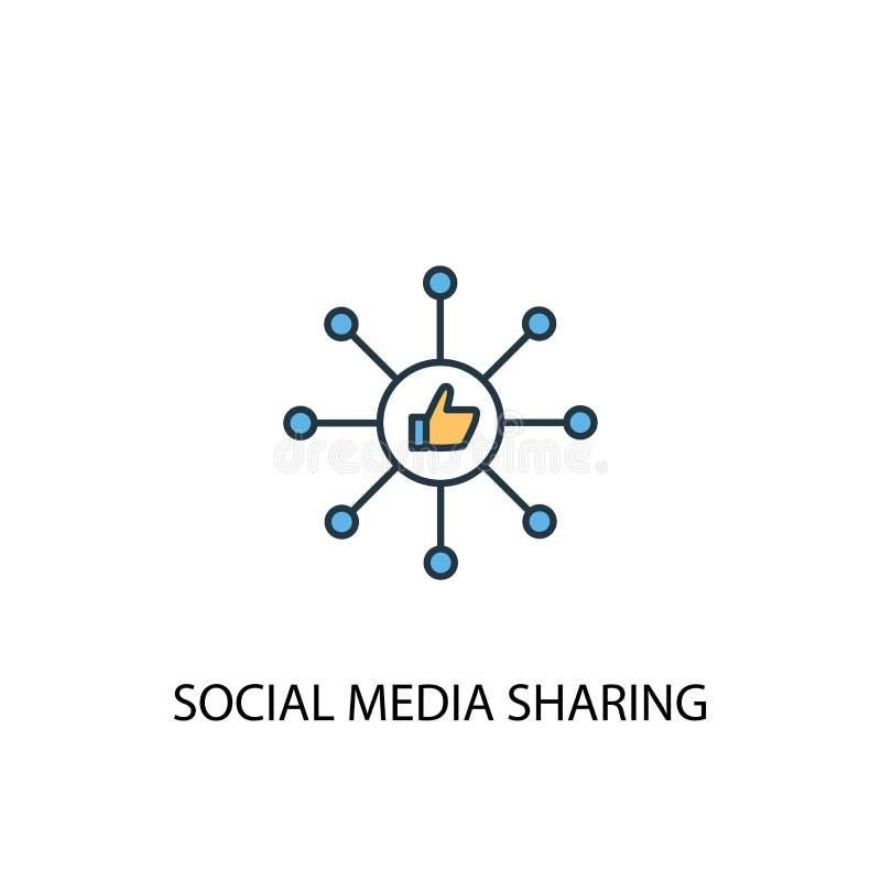 Social Media Sharing -koncept 2 färgat stock illustrationer