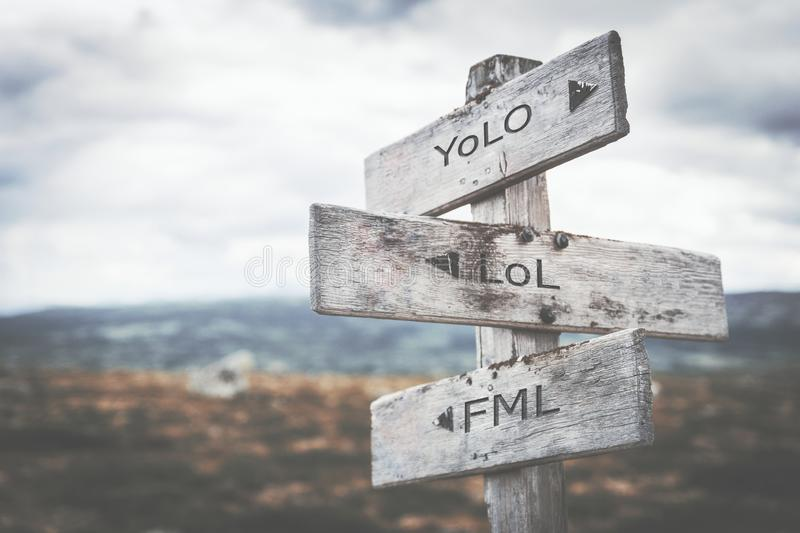 Social media language signpost. Social media signpost in the norwegian mountains. Moody scenery. Old vintage wooden boards stock illustration