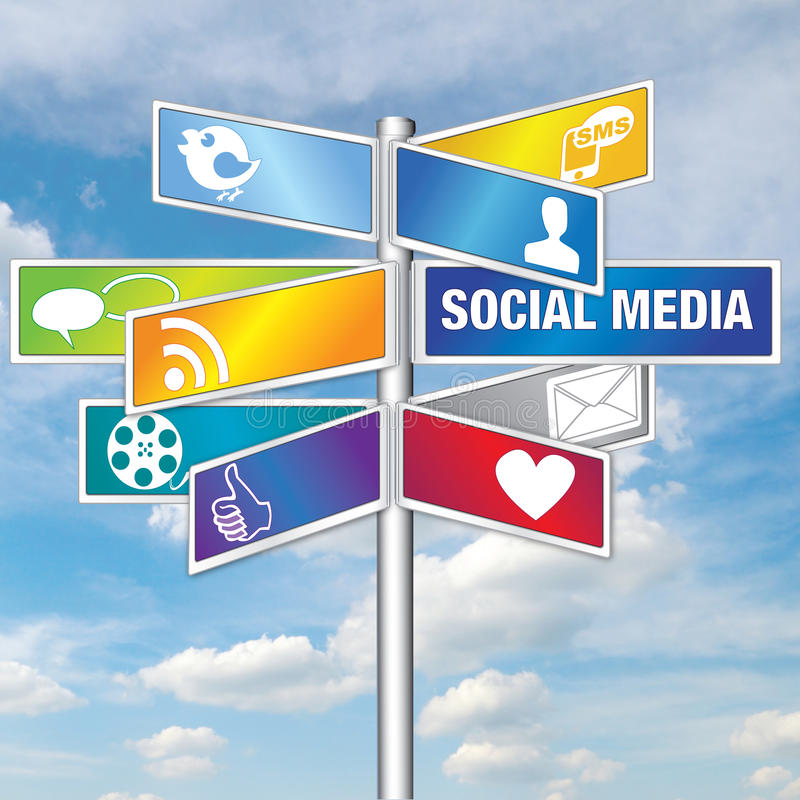 Social Media Sky Signs. Could be used for all media relating to social networking. All the different apps available to social networkers royalty free illustration