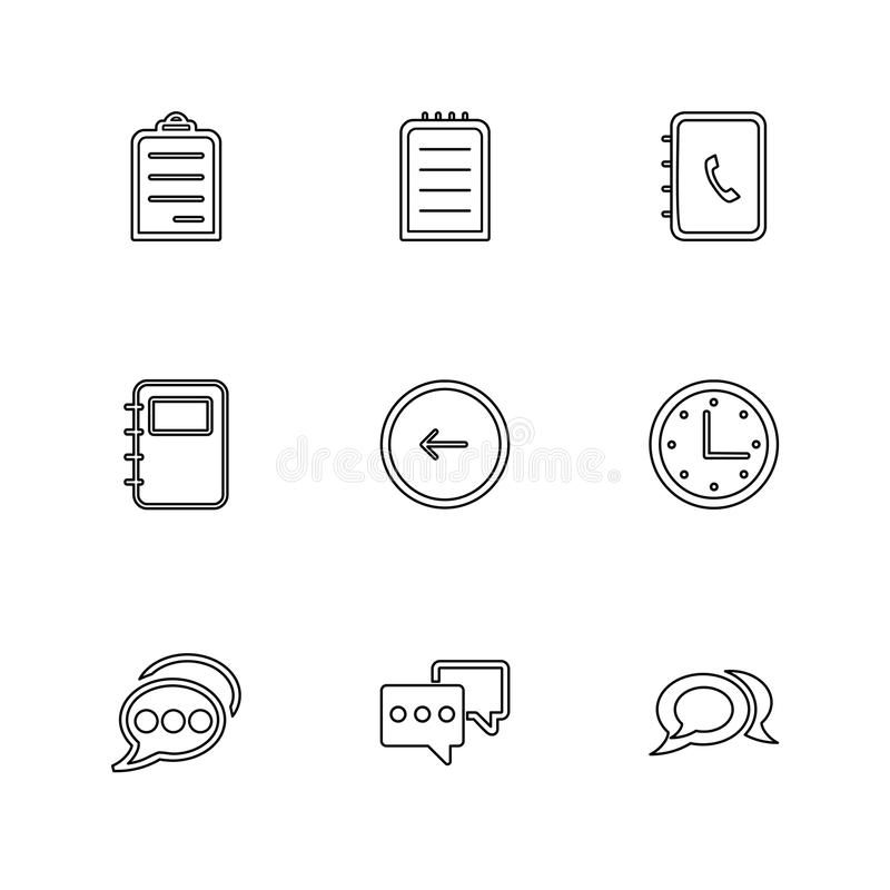Social media , smart phone , mobile , internet , eps icons set v. Social media , smart phone , mobile , internet , chat , message , search , storage , clock royalty free illustration