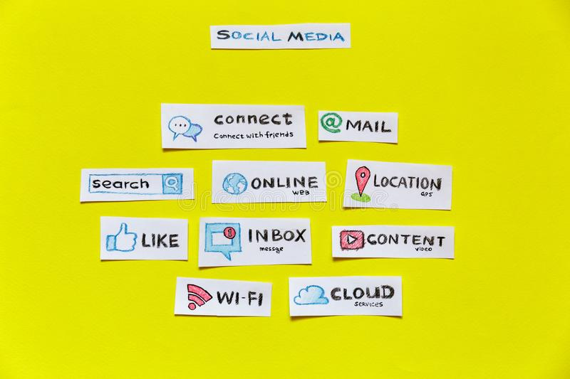 Social media and Social Network concept. Social media and Social Network services concept. Top view of popular internet words on yellow background royalty free stock image