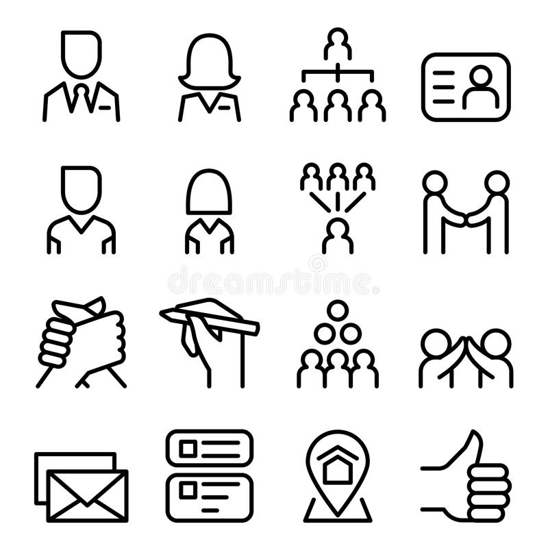 Social media & Social Network icon set in thin line style royalty free illustration