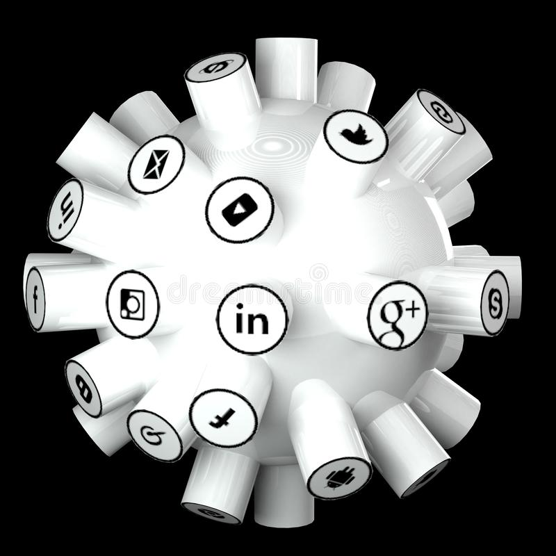 Social Media, Soziales Netz, Internet schließt Illustration 3d an lizenzfreie abbildung
