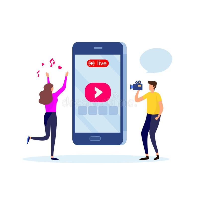 Social Media, Soziales Netz, vermarktender on-line-Inhalt Live-, Videoanruf, Gemeinschaft Karikaturillustrations-Vektorgraphik stock abbildung