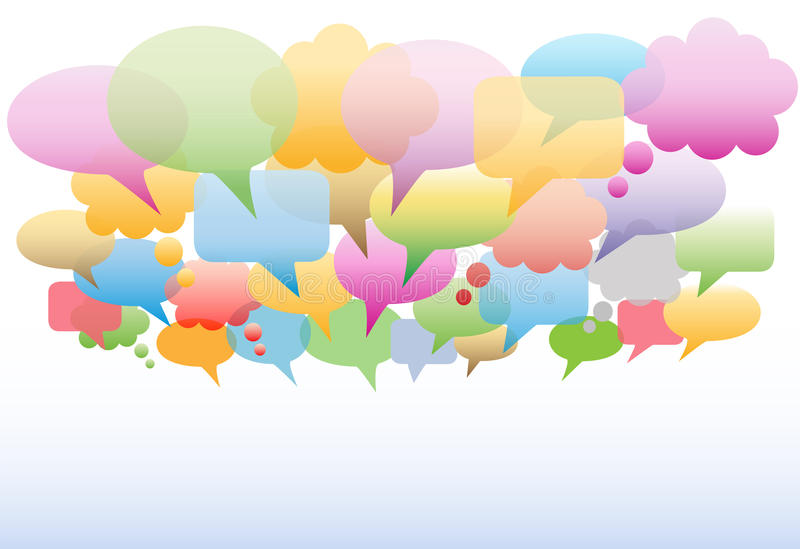 Social media speech bubbles colors background royalty free illustration