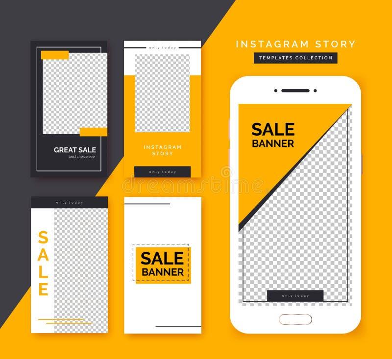 Social media stories templates set. Trendy backgrounds for social media, smartphone app. stock illustration