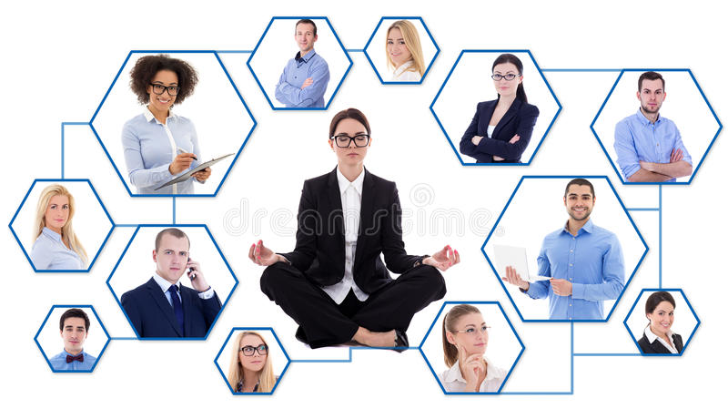 Social media and stress concept - young tired business woman and stock image