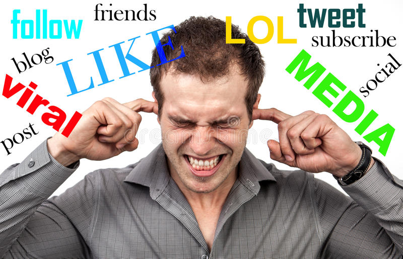 Social media stress. And depression concept