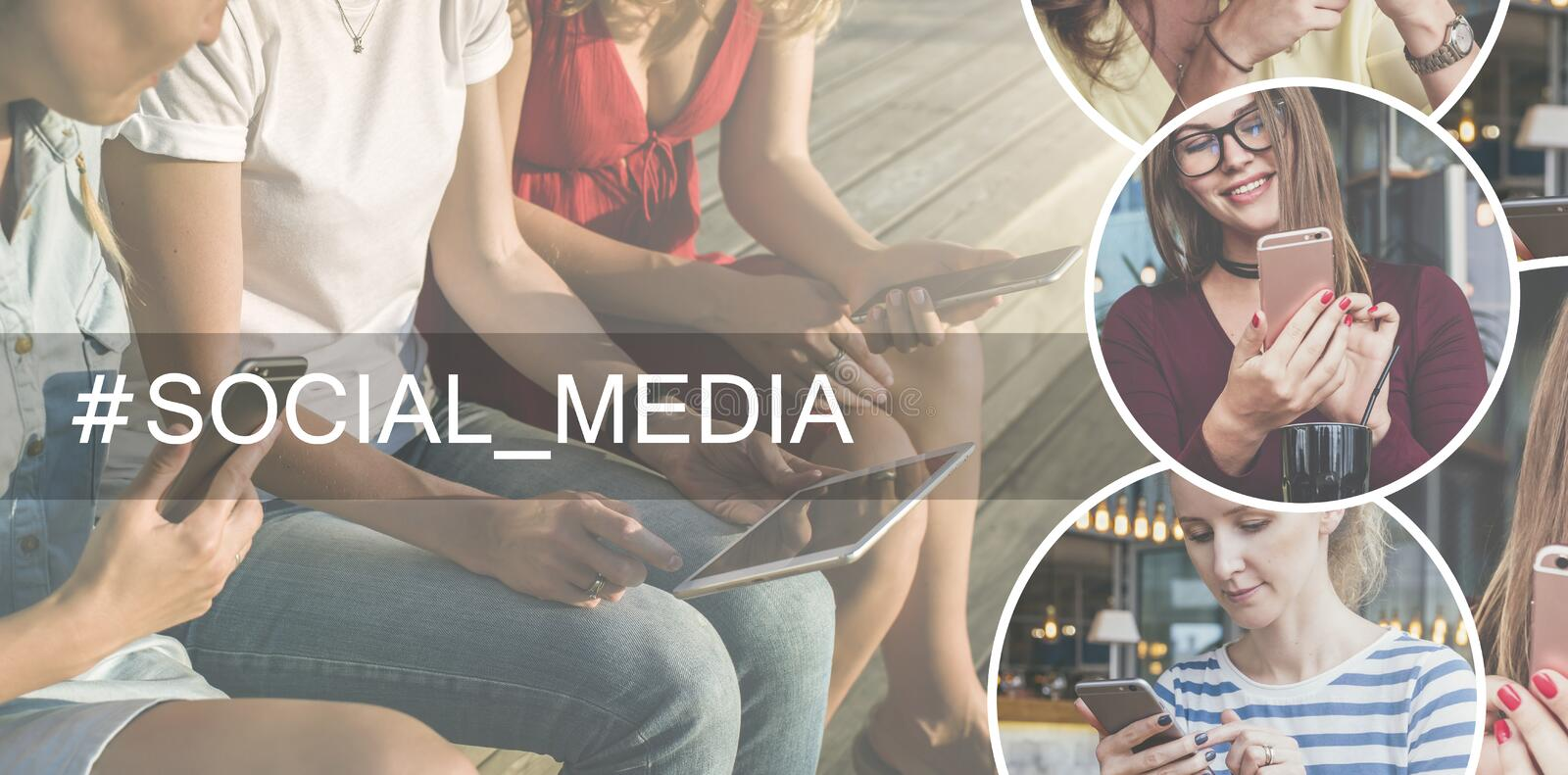 Social media.Summer day. Close-up of smart phones and a digital tablet in the hands of young women sitting outdoors. royalty free stock images