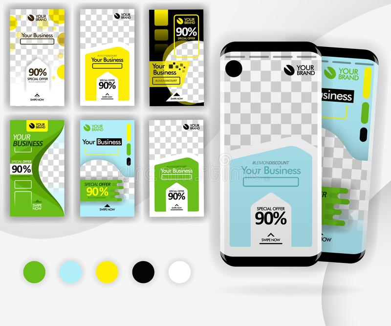 Social media swipe template with a mockup smartphone .for internet marketing, promotion, ads, online business, can use for, landin vector illustration