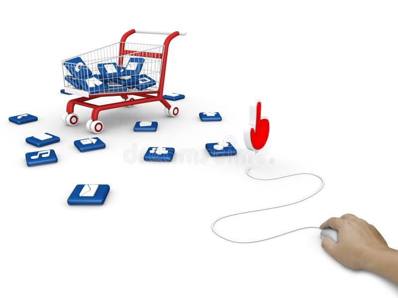 Social Media Symbol With Shopping Cart. Royalty Free Stock Photo