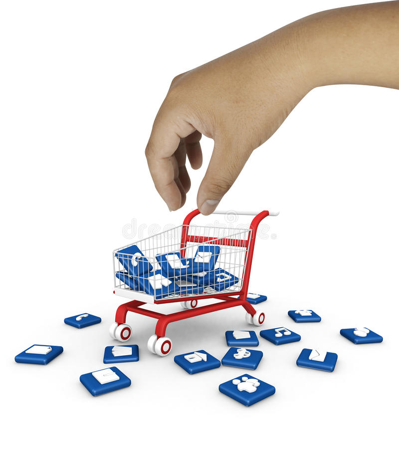 Download Social Media Symbol With Shopping Cart. Stock Illustration - Image: 34461902