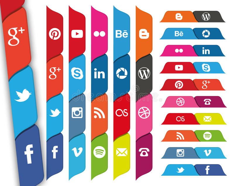 Social Media tabbed icons. A set of 20 popular social media icons in tabs for use in print and web projects. Icons include Pinterest, Youtube, Flickr, Google stock photography