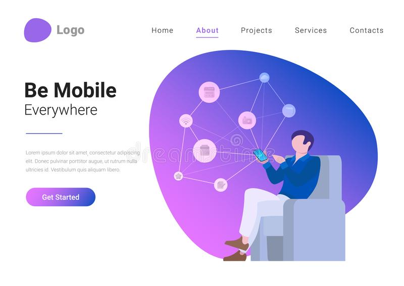 Social Media Technology Mobile Lifestyle Flat vect. Social Media Technology Mobile Lifestyle Flat style vector illustration landing page banner. Young man royalty free illustration