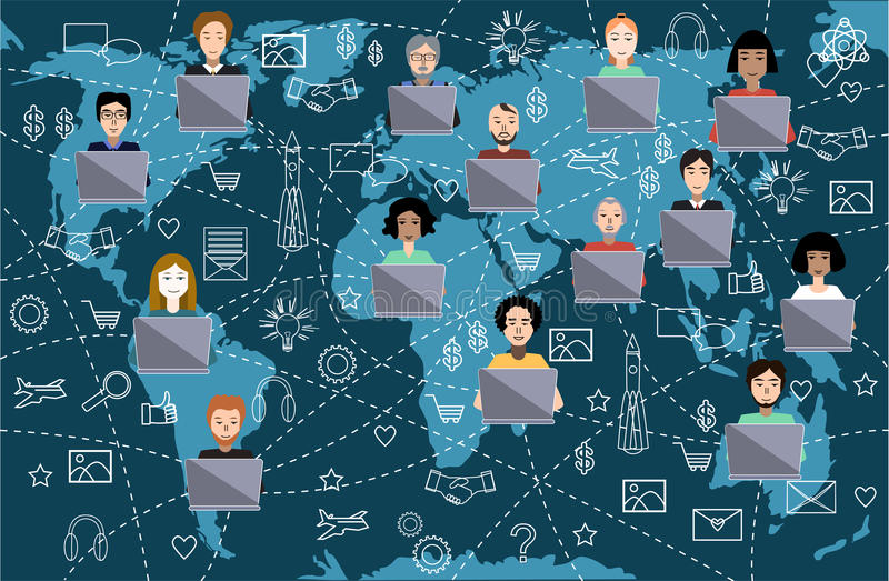 Social media, technology, and network connection concept. Vector illustration vector illustration