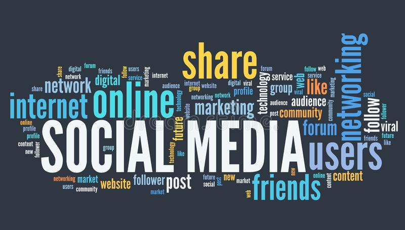 Social media text. Concept - online communites word cloud royalty free illustration
