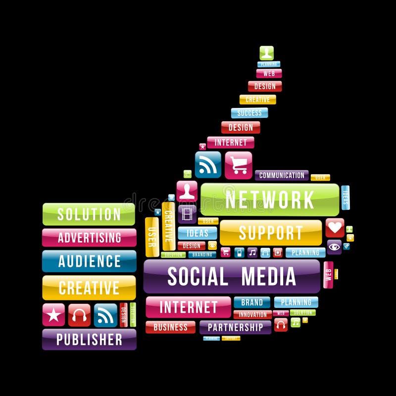 Social media thumb up vector illustration