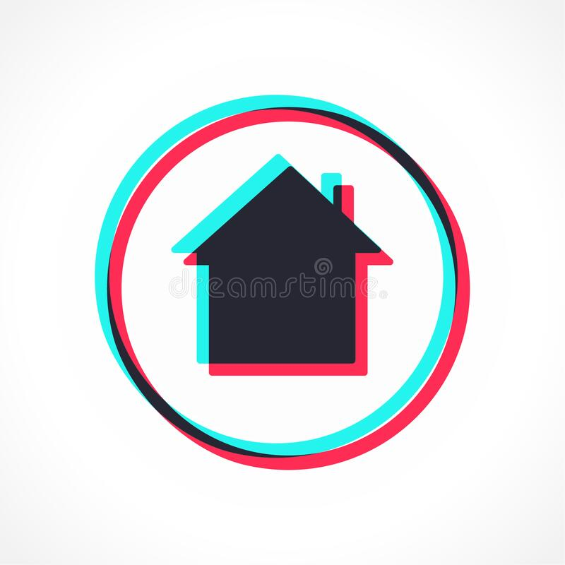 Social Media Tik Tok Glitch Stylized Interface House Icon Stock Vector Illustration Of Building Home 177838523
