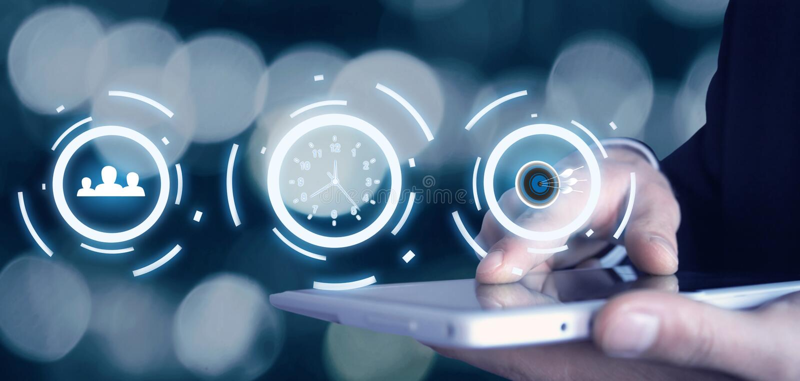 Social media, time management and target achievement. Business c stock photos