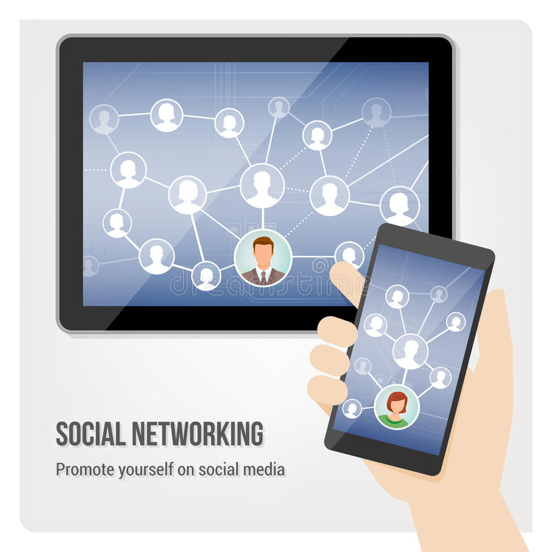 Social media on touch screen interface. Hand holding smartphone and tablet with social media network app interface stock illustration
