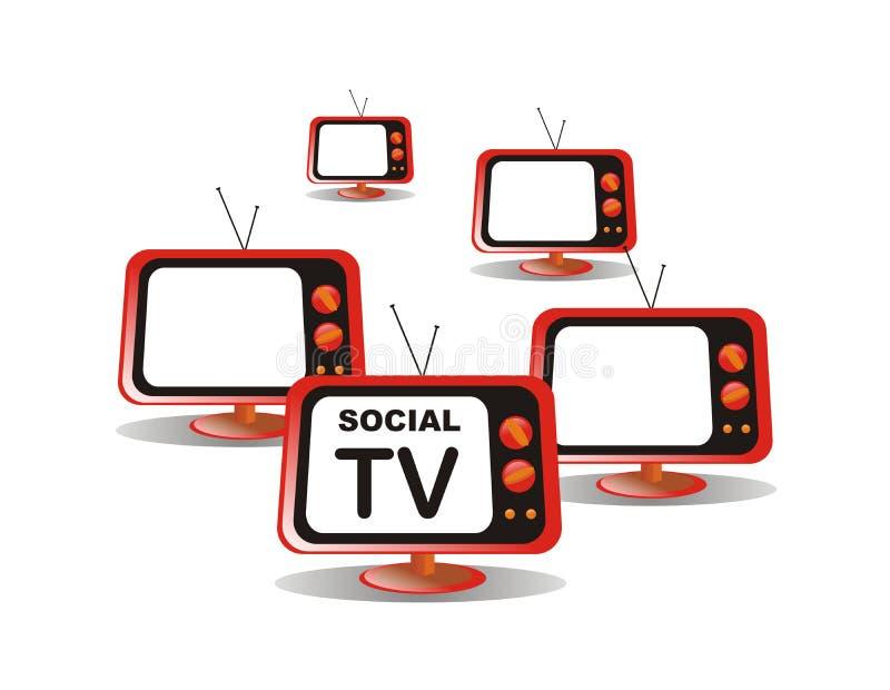 Social media tv. White isolated social media television stock illustration