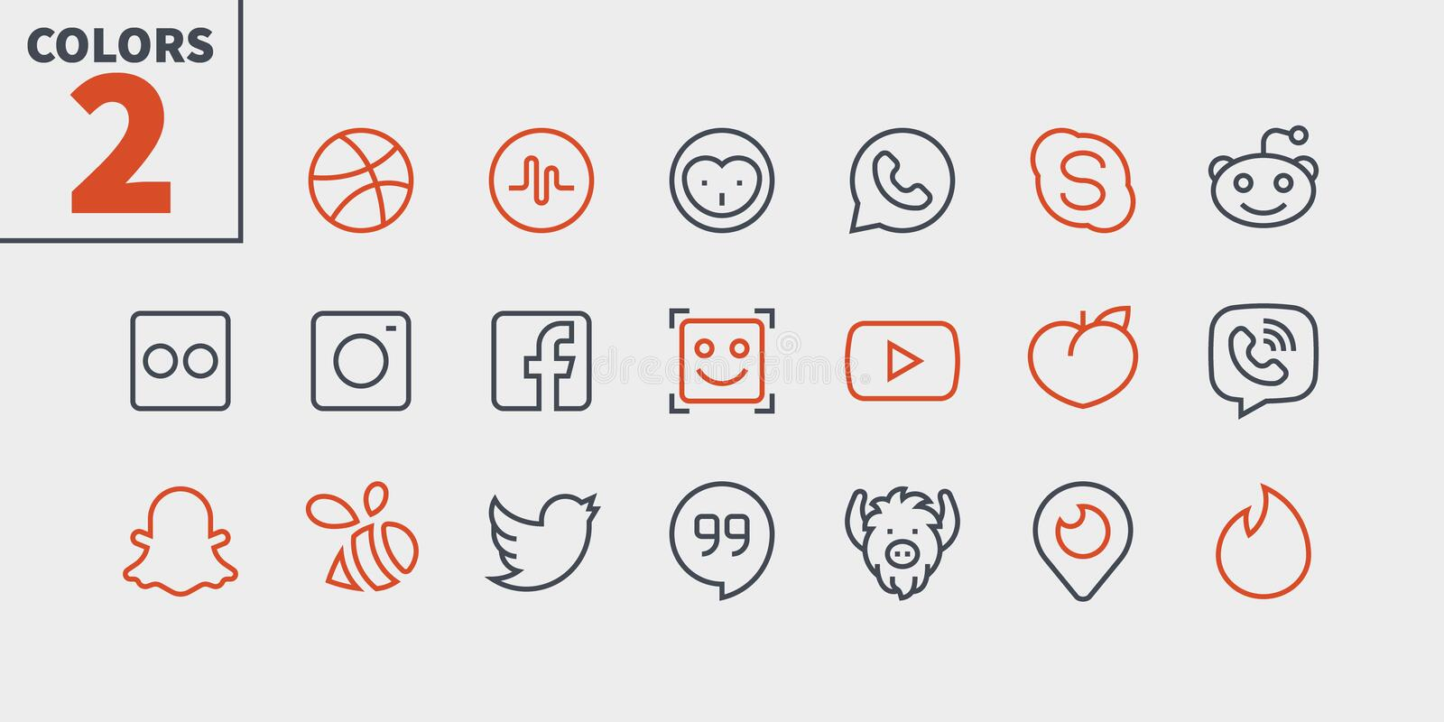 Social Media UI Pixel Perfect Well-crafted Vector Thin Line Icons 48x48 Ready for 24x24 Grid for Web Graphics and Apps. With Editable Stroke. Simple Minimal royalty free illustration