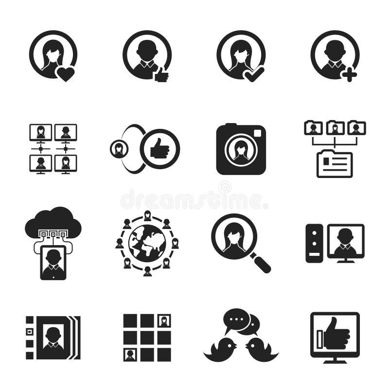 Social Media und Ikonen des Sozialen Netzes lizenzfreie abbildung