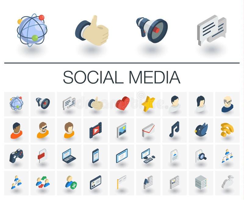 Social Media und isometrische Ikonen des Netzes Vektor 3d stock abbildung