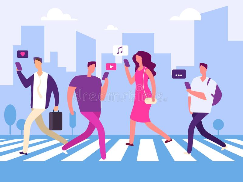Social Media und Leute im großen Stadtvektorkonzept lizenzfreie abbildung