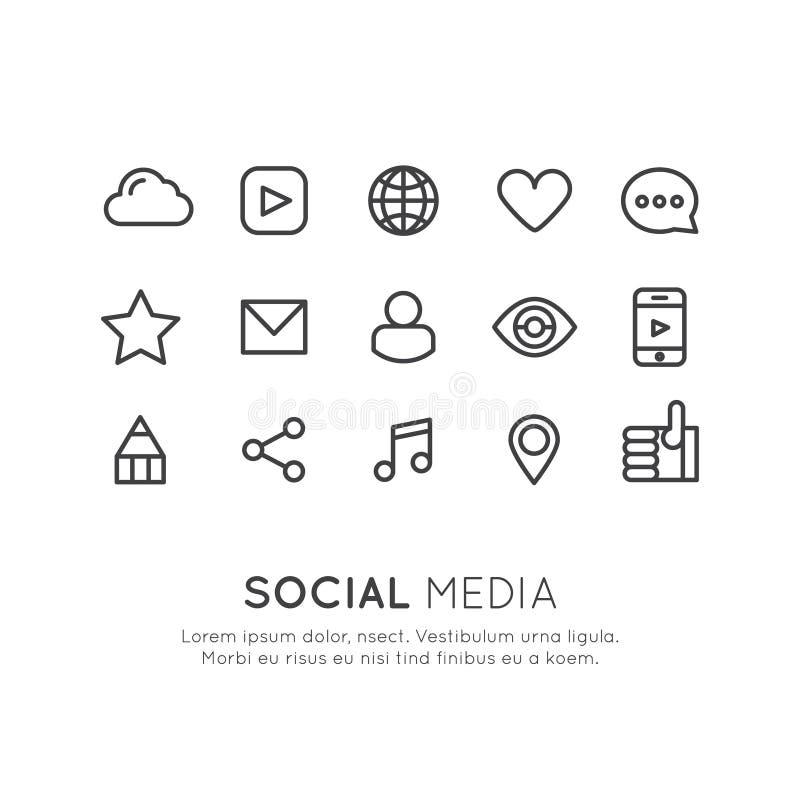 Social Media und Netz-Symbole vektor abbildung