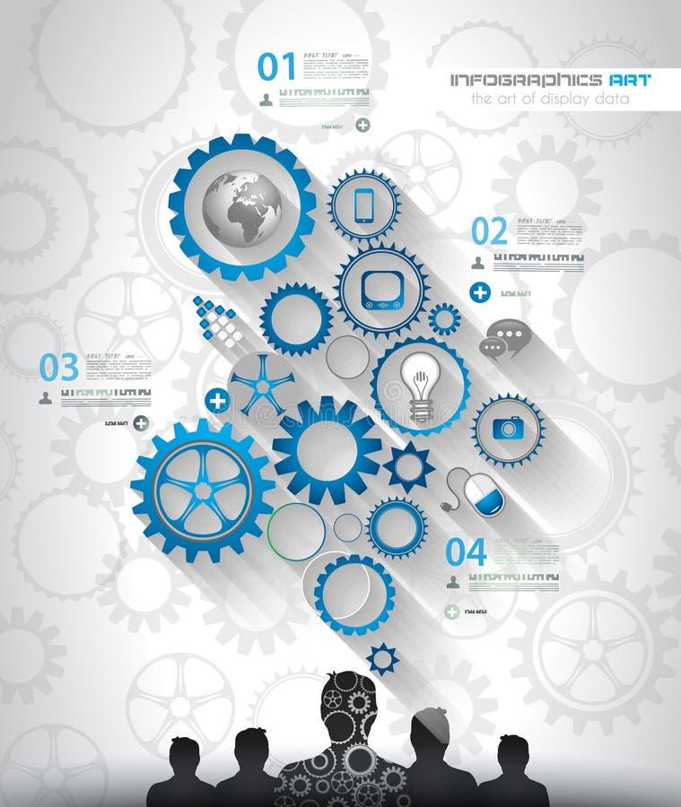 Social Media- und Wolkenkonzept Infographic-Hintergrund vektor abbildung