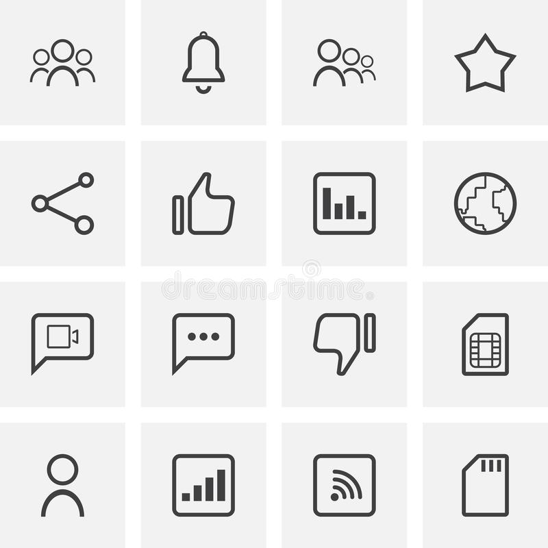 Social media universal line icons set stock illustration
