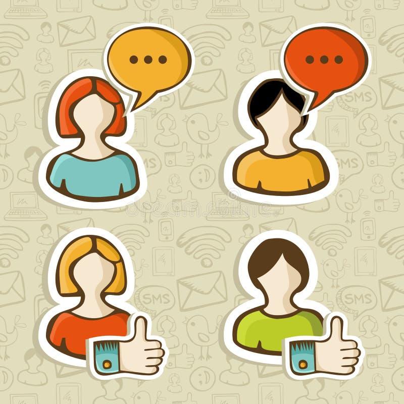 Social Media User Profile Button Icons Set Stock Image