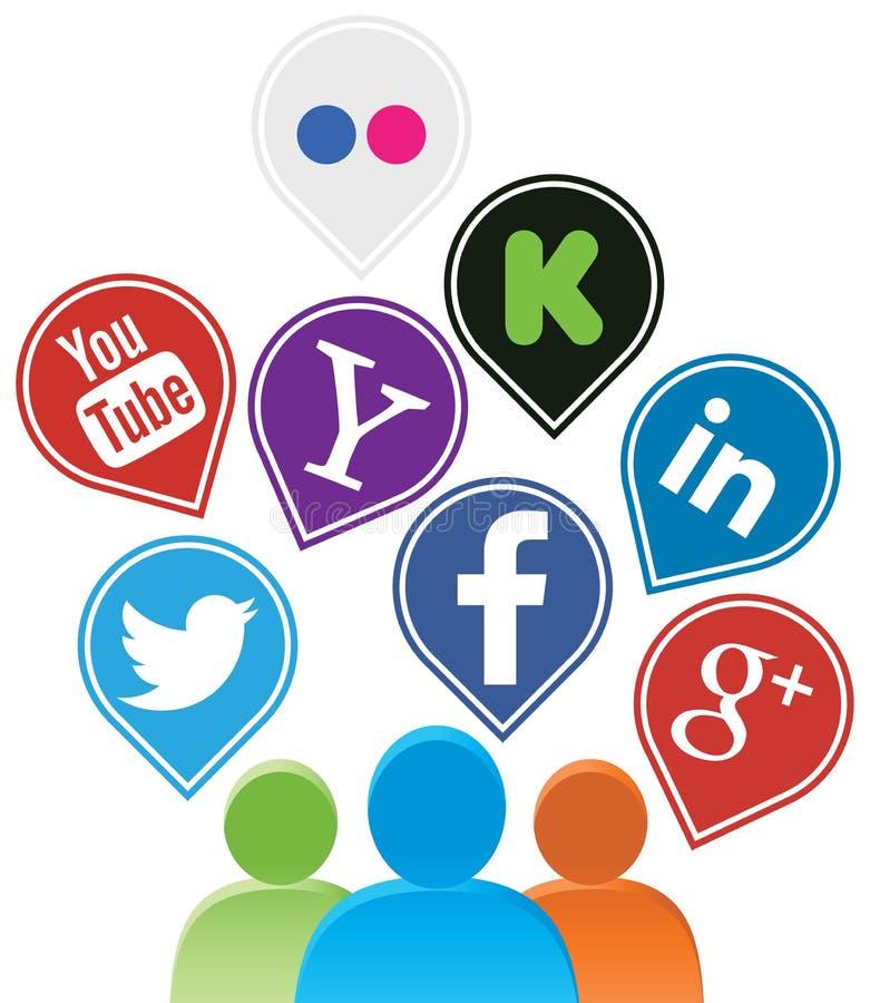 Social media. Vector illustration of social media buttons stock illustration
