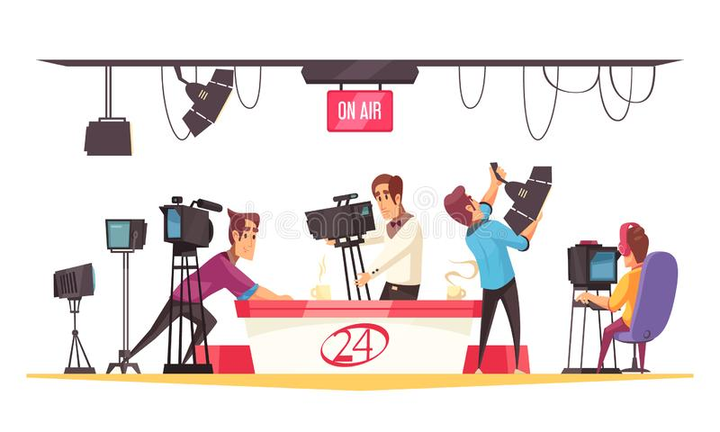 Social Media Vector Illustration. Social media cartoon composition with journalist in front of monitor and cameramen with video camera flat vector illustration stock illustration